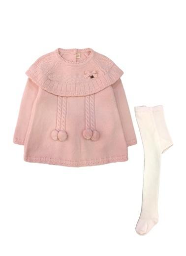 By Leyal For Kids  Bebe Yaka Triko Elbise (Sırt Komple Düğmeli) Ve Çorap Set-7053 Pembe